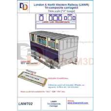 LNWR 3 compartment composite coach